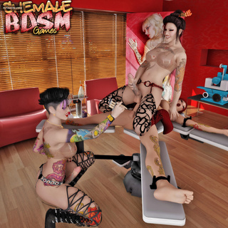 Nasty transsexual sex in the tattoo saloon - Picture 5