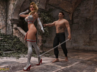 Dominator bangs a chained shemale in the castle - Picture 1