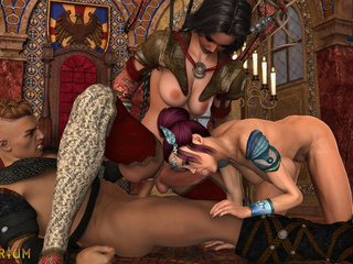 Submissive whore gets brutally drilled by shemales - Picture 6