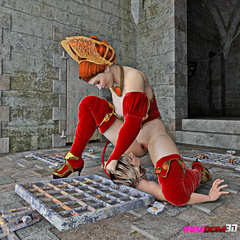 Five star sex queen with red lash and two submissive - Picture 3
