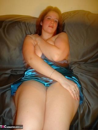 high heeled redhead blue