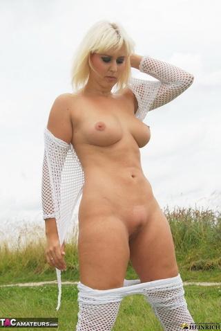 sexy blonde white fishnet
