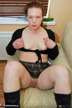 Small tits redhead in leather boots slowly taking off black top and plaid miniskirt just to show her shaved fuck hole - XXXonXXX - Pic 5