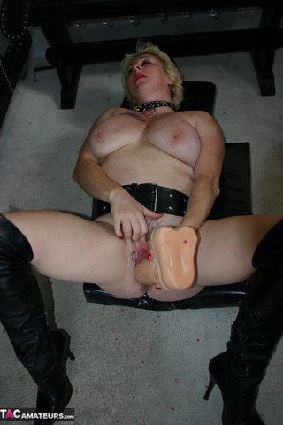 big boobed blonde leather