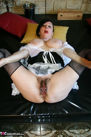 Big tits brunette in sexy maid outfit and fishnet stockings spreading on the black bed and showing her pierced vagina - XXXonXXX - Pic 19