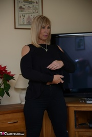blonde milf black outfit