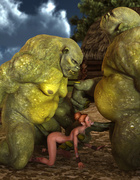 Giant green beasts double penetrated a redhead beauty