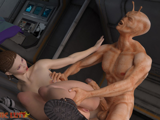 Muscled alien satisfies slender girl on the starship - Picture 1