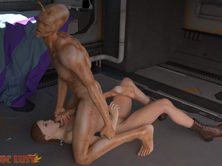 Muscled alien satisfies slender girl on the starship - Picture 2