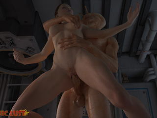 Muscled alien satisfies slender girl on the starship - Picture 4
