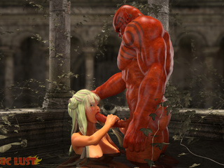Diabolic 3D monster cums in mouth of a busty blondie - Picture 2