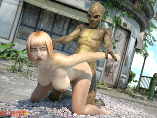 Alien with snake skin drills a sex-addicted 3D lass - Picture 6