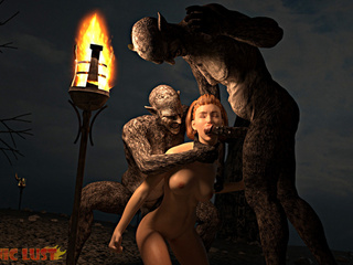 Angry dark monsters double penetrates a redhead bitch - Picture 2