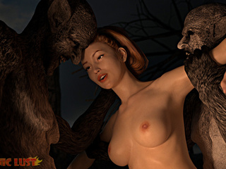 Angry dark monsters double penetrates a redhead bitch - Picture 3