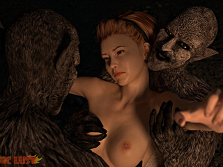 Angry dark monsters double penetrates a redhead bitch - Picture 4