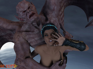 Brutal sex with 3D brunette and a muscled demon - Picture 2