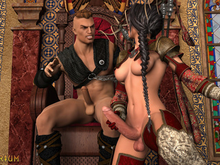 Insanely hot 3D threesome in the castle with - Picture 4