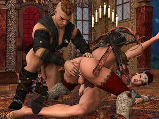 Insanely hot 3D threesome in the castle with - Picture 5