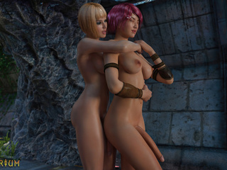 Pink-haired 3D babe rides a ladyboy's dick in cowgirl - Picture 2