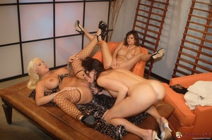 Babes with huge tits and long legs are getting in lesbian 3some - XXXonXXX - Pic 14