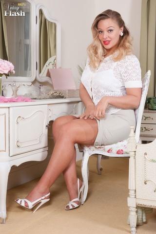 big-boobed babe white heels