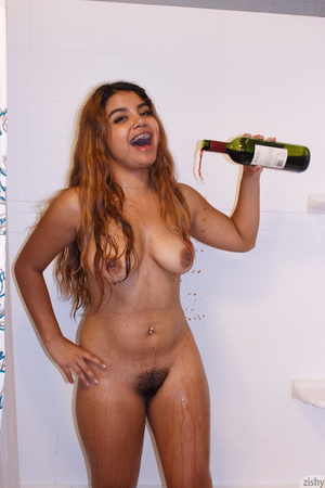 Latina drinks wine while topless in the  - XXX Dessert - Picture 11