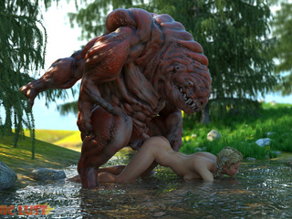 The nastiest 3D monster banged a slutty angel - Picture 4