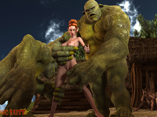 Insanely big green monsters cums on a redhead - Picture 3