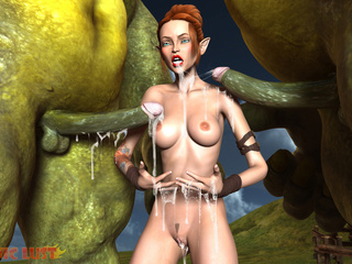Insanely big green monsters cums on a redhead - Picture 5