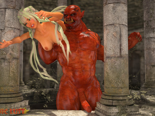 Red-skinned 3D Satan realizes blonde's desires - Picture 2