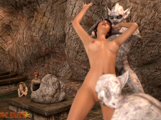 Insanely ugly 3D demons double penetrated a beauty - Picture 2