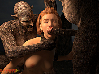 Filthy as hell 3D demons bangs a slutty brunette in - Picture 3