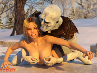 Busty blonde queen gets nailed by snow monster - Picture 2