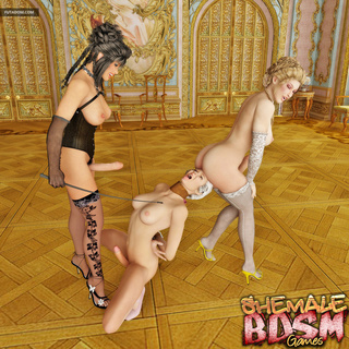 Submissive brunette gets treated by two shemales - Picture 1