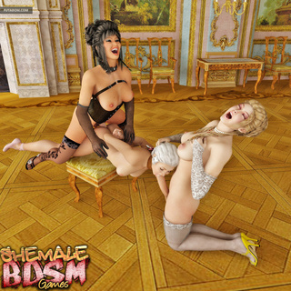 Submissive brunette gets treated by two shemales - Picture 6