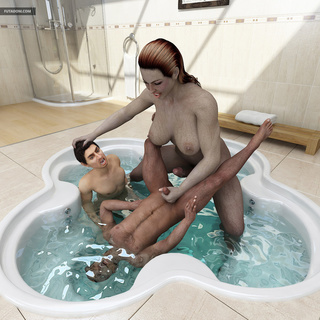 Young man and extremely big 3D trap bangs in jacuzzi - Picture 5