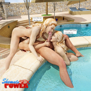 Young blondes fucked on the poolside by shemale - Picture 2