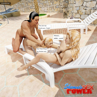Young blondes fucked on the poolside by shemale - Picture 3