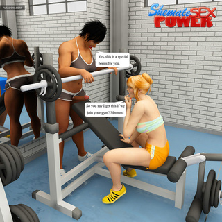 Blonde gets banged in the gym by shemale and her bf - Picture 1