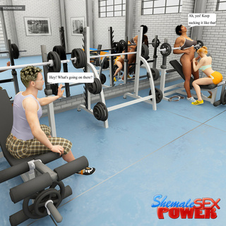 Blonde gets banged in the gym by shemale and her bf - Picture 2