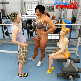 Blonde gets banged in the gym by shemale and her bf - Picture 3
