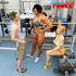 Blonde gets banged in the gym by shemale and her bf
