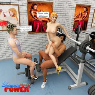 Blonde gets banged in the gym by shemale and her bf - Picture 6