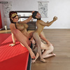 Giant 3D shemale and two submissive young men