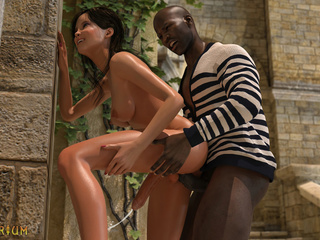 Black guy anally bangs a passionate white ladyboy - Picture 6