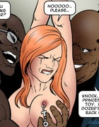 Two blacks are treating a handcuffed redhead bitch. Dark Vengeance By
