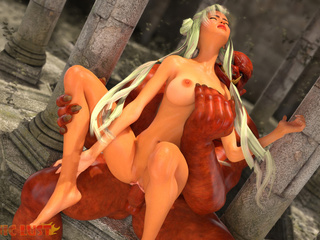 Satanic 3D beast with red dick pounds a slender - Picture 2