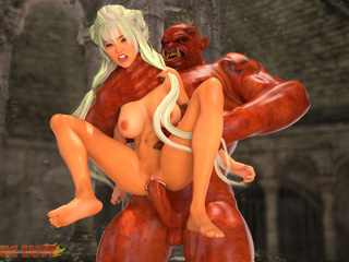 Satanic 3D beast with red dick pounds a slender - Picture 3