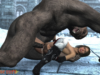 Giant gorilla cums on a hot busty brunette - Picture 3