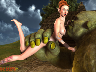 Giant green monsters nailed a redhead goddess - Picture 3